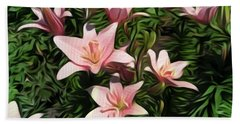Candy-striped Day Lilies Beach Towel