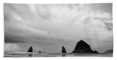 Cannon Beach In Black And White Beach Towel