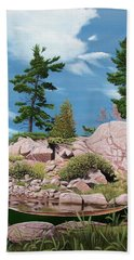 Canoe Among The Rocks Beach Towel