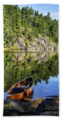 Canoe At Slim Lake Beach Towel