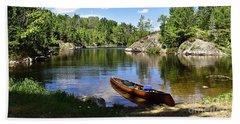 Canoe At The Portage Landing -- Slim Lake Beach Towel