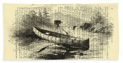 Canoe With Field Camera In Black And White Antique Illustration Beach Towel