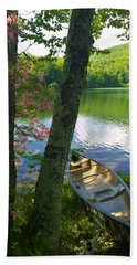Canoe On Pond, Catskills Beach Towel