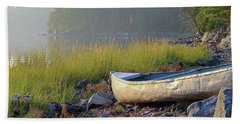 Canoe On The Rocks Beach Sheet
