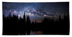 Canoeing - Milky Way - Night Scene Beach Sheet by Andrea Kollo