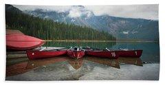Canoes At Emerald Lake Beach Towel
