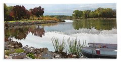 Canoes On Monee Lake Beach Sheet by Cedric Hampton