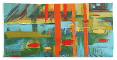 Beach Towel featuring the painting Cantaloupe Island by Erin Fickert-Rowland