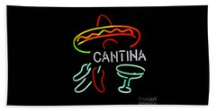 Cantina Neon Sign Beach Towel