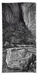 Beach Towel featuring the photograph Canyon Corner - Bw by Christopher Holmes