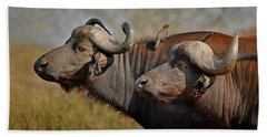 Beach Towel featuring the photograph Cape Buffalo And Their Housekeeper by Joe Bonita