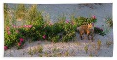 Beach Towel featuring the photograph Cape Cod Beach Fox by Bill Wakeley
