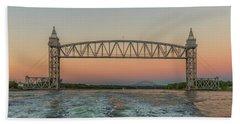 Cape Cod Canal Railroad Bridge Sunset Beach Towel