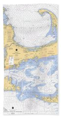 Cape Cod, Martha's Vineyard And Nantucket Nautical Chart Beach Towel