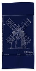 Beach Towel featuring the photograph Historic Cape Cod Windmill Blueprint by John Stephens
