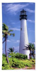 Beach Towel featuring the painting Cape Florida Lighthouse by Christopher Arndt