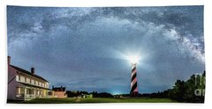 Cape Hatteras Light House Milky Way Panoramic Beach Towel