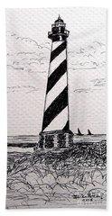 Beach Towel featuring the drawing Cape Hatteras Lighthouse Nc by Julie Brugh Riffey