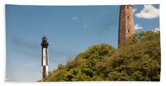 Cape Henry Lighthouses Old And New Beach Towel