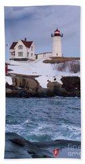 Cape Neddick Light At Dusk, York, Maine 21073 Beach Towel