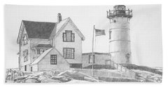 Beach Towel featuring the drawing Cape Neddick Light House Drawing by Dominic White