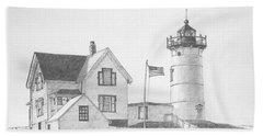 Cape Neddick Light House Drawing Beach Towel
