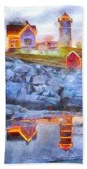 Cape Neddick Light Watercolor Beach Towel