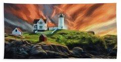 Beach Towel featuring the digital art Cape Neddick Nubble Lighthouse by Lois Bryan