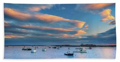 Beach Towel featuring the photograph Cape Porpoise Harbor At Sunset by Rick Berk