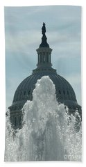 Capital Dome Behind Fountain Beach Towel