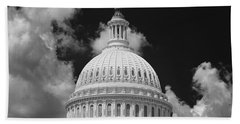 Capital Dome Washington D C  B W Beach Towel