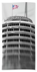 Beach Towel featuring the photograph Capitol Records Building 18 by Micah May
