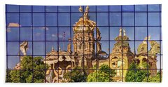 Beach Towel featuring the photograph Capitol Reflection - Iowa by Nikolyn McDonald