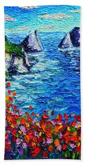 Capri Faraglioni 2 Italy Colors Modern Impressionist Palette Knife Oil Painting Ana Maria Edulescu  Beach Towel
