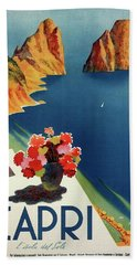 Capri Island Of The Sun - Italy Vintage Travel  1952 Beach Sheet by Daniel Hagerman