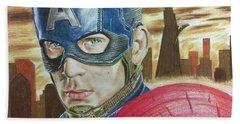 Beach Sheet featuring the drawing Captain America by Michael McKenzie