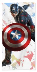 Beach Sheet featuring the mixed media Captain America Splash Super Hero Series by Movie Poster Prints