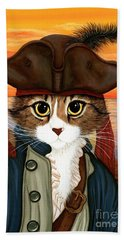 Beach Towel featuring the painting Captain Leo - Pirate Cat And Rat by Carrie Hawks