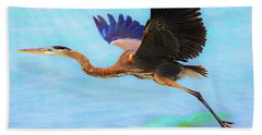 Captiva Crane In Flight Beach Sheet by Robert FERD Frank