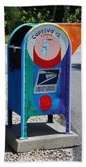 Beach Towel featuring the photograph Captiva Island Mailbox- Vertical by Michiale Schneider