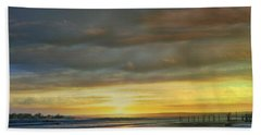 Captivating Sunset Over The Harbor Beach Towel