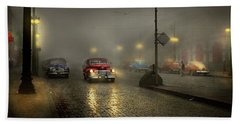 Beach Towel featuring the photograph Car - Down A Lonely Road 1940 by Mike Savad