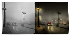 Beach Towel featuring the photograph Car - Down A Lonely Road 1940 - Side By Side by Mike Savad