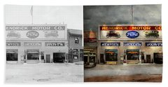 Beach Towel featuring the photograph Car - Garage - Hendricks Motor Co 1928 - Side By Side by Mike Savad