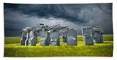 Car Henge In Alliance Nebraska After England's Stonehenge Beach Sheet by Randall Nyhof