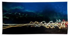 Car Light Trails At Dusk In City Beach Towel