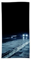 Car On A Rainy Highway At Night Beach Towel by Jill Battaglia