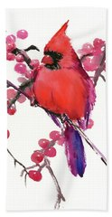 Cardinal And Berries Beach Towel