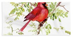 Cardinal Bird Beach Towel