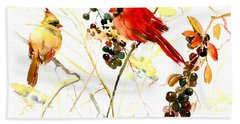 Cardinal Birds And Berries Beach Towel